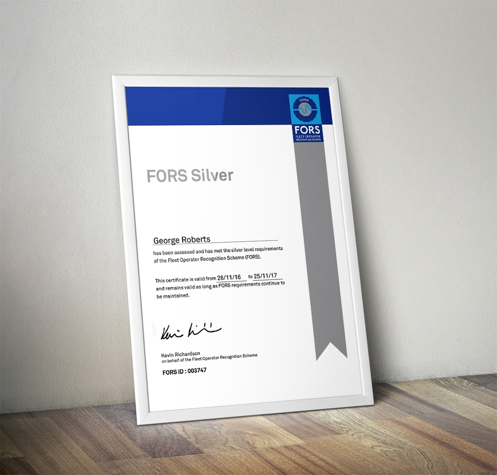 FORS Silver Accreditation in a frame leaning on the wall