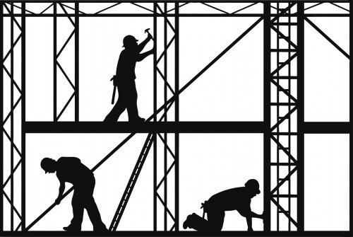 black and white vector image of construction workers on site